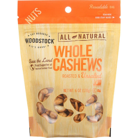 Woodstock Nuts - All Natural - Cashews - Whole - Extra Large - Roasted - Unsalted - 6 Oz - Case Of 8