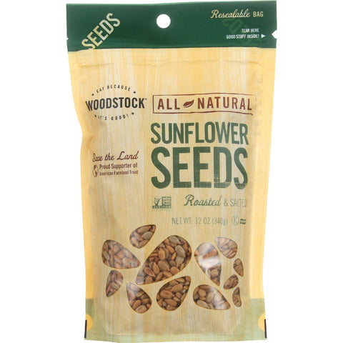 Woodstock Seeds - All Natural - Sunflower - Shelled - Roasted - Salted - 12 Oz - Case Of 8