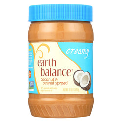 Earth Balance Creamy Coconut And Peanut Spread - Case Of 12 - 16 Oz.