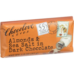 Chocolove Xoxox Premium Chocolate Bar - Dark Chocolate - Almonds And Sea Salt - Mini 1.3 Oz Bars - Case Of 12