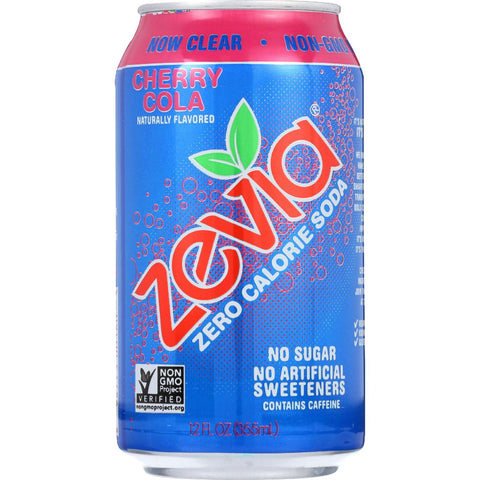 Zevia Soda - Zero Calorie - Cherry Cola - Can - 6-12 Oz - Case Of 4