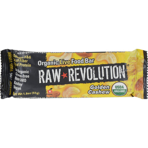 Raw Revolution Bar - Organic Golden Cashew - Case Of 12 - 1.8 Oz