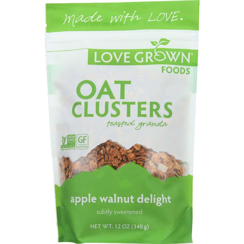 Love Grown Foods Toasted Granola - Oat Clusters - Apple Walnut Delight - 12 Oz - Case Of 6