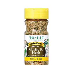 Frontier Herb Organic Seasoning Blend - Garlic And Herb - Salt Free - Case Of 6 - 2.7 Oz.