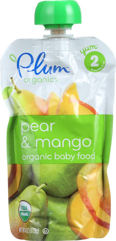 Plum Organics Baby Food - Organic - Pear And Mango - Stage 2 - 6 Months And Up - 3.5 .oz - Case Of 6