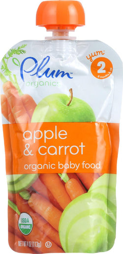 Plum Organics Baby Food - Organic -apple And Carrot - Stage 2 - 6 Months And Up - 3.5 .oz - Case Of 6