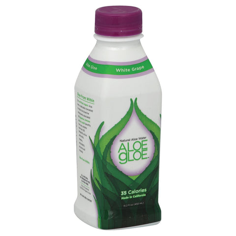Aloe Gloe White Grape Organic Aloe Water - Case Of 12 - 15.2 Fl Oz.