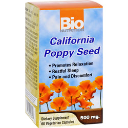 Bio Nutrition California Poppy Seed - 500 Mg - 60 Vegetarian Capsules
