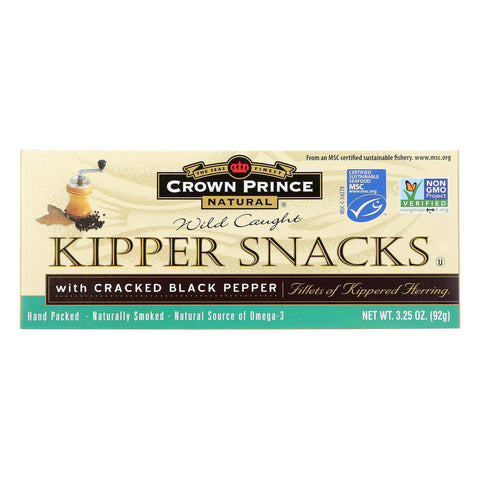 Crown Prince Kipper Snacks - With Cracked Black Pepper - Case Of 18 - 3.25 Oz.