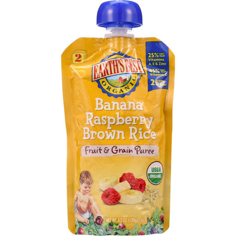 Earths Best Baby Food - Organic - Fruit And Grain Puree - Pouch - Age 6 Months Plus - Stage 2 - Banana Raspberry Brown Rice - 4.2 Oz - Case Of 12