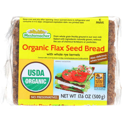 Mestemacher Bread Bread - Organic - Flax Seed - 17.6 Oz - Case Of 12