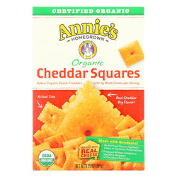 Annie's Homegrown Organic Cheddar Squares Baked Snacked Crackers - Case Of 12 - 6.75 Oz.