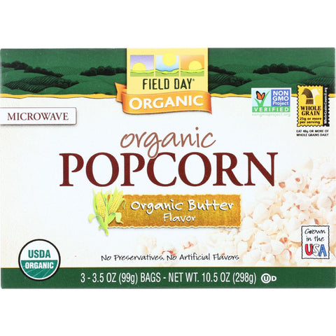 Field Day Microwave Popcorn - Organic - Butter Flavor - 3-3.5 Oz - Case Of 12