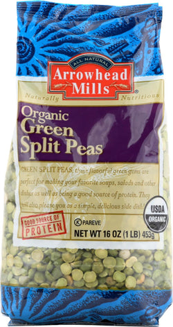 Arrowhead Mills Organic Green Spilt Peas - Case Of 6 - 16 Oz.