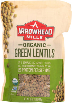 Arrowhead Mills Organic Green Lentils - Case Of 6 - 16 Oz.