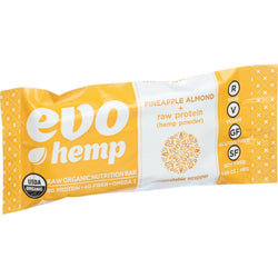 Evo Hemp Organic Hemp Bars - Pineapple Almond Protein - 1.69 Oz Bars - Case Of 12