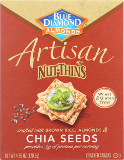 Blue Diamond Artesion Nut Thins - Chia Seed - Case Of 12 - 4.25 Oz.