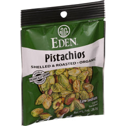 Eden Foods Organic Pocket Snacks - Pistachios - Shelled And Dry Roasted - 1 Oz - Case Of 12