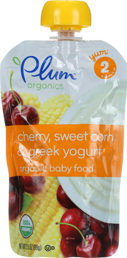 Plum Organics Baby Food - Organic - Cherry Sweet Corn And Greek Yogurt - Stage 2 - 6 Months And Up - 3.5 .oz - Case Of 6