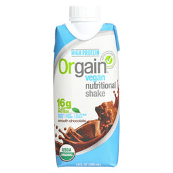 Orgain Organic Vegan Nutritional Shakes - Smooth Chocolate - Case Of 12 - 11 Fl Oz.