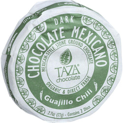 Taza Chocolate Organic Chocolate Mexicano Discs - 50 Percent Dark Chocolate - Guajillo Chili - 2.7 Oz - Case Of 12