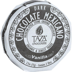 Taza Chocolate Organic Chocolate Mexicano Discs - 50 Percent Dark Chocolate - Vanilla - 2.7 Oz - Case Of 12