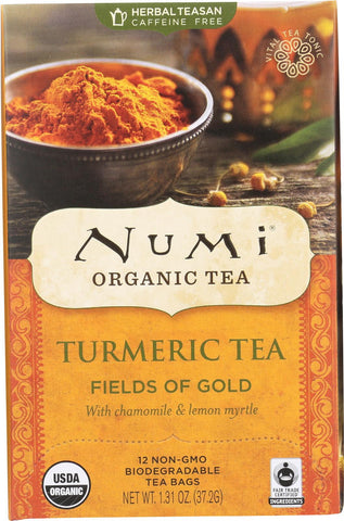 Numi Tea - Organic - Turmeric - Fields Of Gold - 12 Bags - Case Of 6