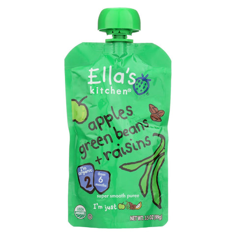 Ella's Kitchen Baby Food - Apples Green Beans Raisins - Case Of 12 - 3.5 Oz.