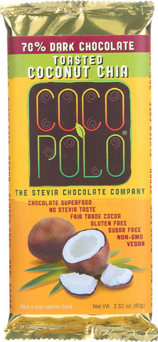 Coco Polo Chocolate Bar - 70 Percent Dark Chocolate With Coconut Chia - Case Of 10 - 2.82 Oz Bars