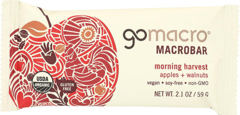 Gomacro Organic Macrobar - Apples And Walnuts - 2.1 Oz Bars - Case Of 12
