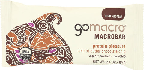 Gomacro Organic Macrobar - Peanut Butter Chocolate Chip - 2.5 Oz Bars - Case Of 12