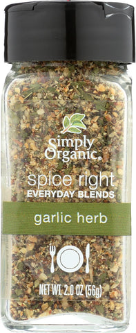 Simply Organic Spice Right Everyday Blends - Garlic And Herb - Case Of 6 - 2 Oz.