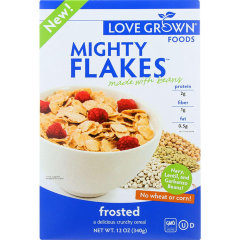 Love Grown Foods Cereal - Mighty Flakes - Frosted - 12 Oz - Case Of 6
