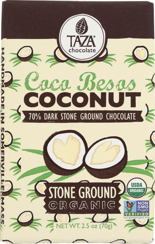 Taza Chocolate Stone Ground Organic Dark Chocolate Bar - Coco Besos Coconut - Case Of 10 - 2.5 Oz.