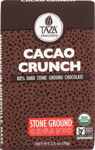 Taza Chocolate Stone Ground Organic Dark Chocolate Bar - Cacao Crunch - Case Of 10 - 2.5 Oz.