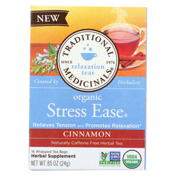 Traditional Medicinals Relaxation Tea - Stress Ease, Cinnamon - Case Of 6 - 16 Bags