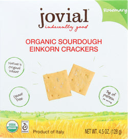 Jovial Sourdough Einkorn Crackers - Rosemary - Case Of 10 - 4.5 Oz.