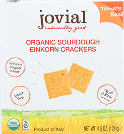 Jovial Sourdough Einkorn Crackers - Tomato Basil - Case Of 10 - 4.5 Oz.