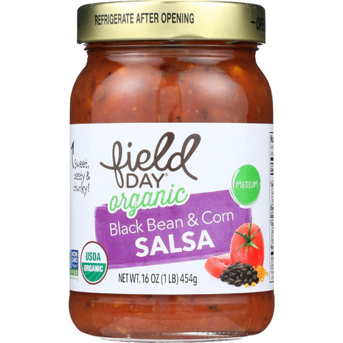Field Day Salsa - Organic - Black Bean And Corn - 16 Oz - Case Of 12