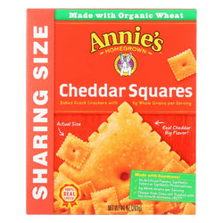 Annie's Homegrown Cheddar Squares Baked Snack Crackers - Case Of 12 - 10 Oz.