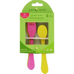 Green Sprouts Forks And Spoons - Sprout Ware - 9 Months Plus - Pink Assorted - 6 Pack