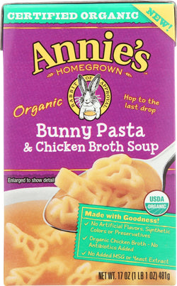 Annie's Homegrown Organic Bunny Pasta And Chicken Broth Soup - Case Of 8 - 17 Oz.