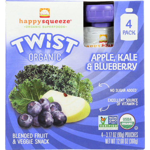 Happy Squeeze Fruit And Veggie Snack - Organic - Blended - Twist - Apple Kale And Blueberry - 4-3.17 Oz - Case Of 4