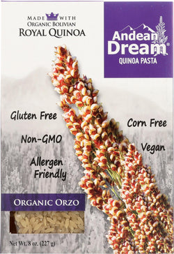 Andean Dream Gluten Free Organic Orzo Quinoa Pasta - Case Of 12 - 8 Oz.