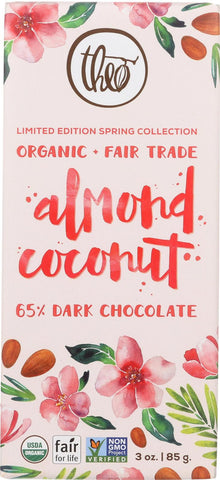 Theo Chocolate Almond Coconut - 65 Percent Dark Chocolate - Case Of 12 - 3 Oz.