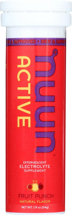 Nuun Hydration Drink Tab - Active - Fruit Punch - 10 Tablets - Case Of 8