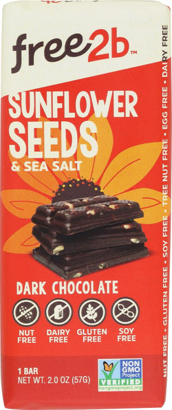 Free 2 B Sunflower Sea Salt - Dark Chocolate - Case Of 10 - 2 Oz.