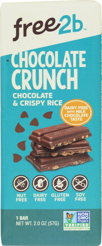 Free 2 B Milk Chocolate Bar - Rice Crunch - Case Of 10 - 2 Oz.