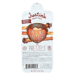 Justin's Nut Butter Hazelnut Butter With Pretzels - Chocolate - Case Of 6 - 1.3 Oz.