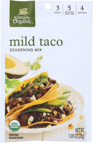 Simply Organic Mild Taco Seasoning Mix - Case Of 12 - 1 Oz.